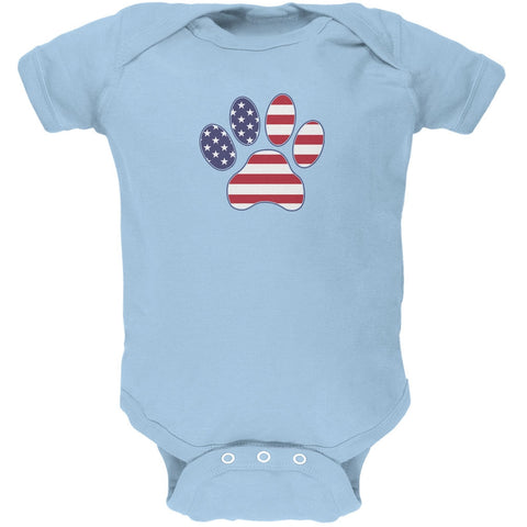 4th of July Patriotic Dog Paw Light Blue Soft Baby One Piece