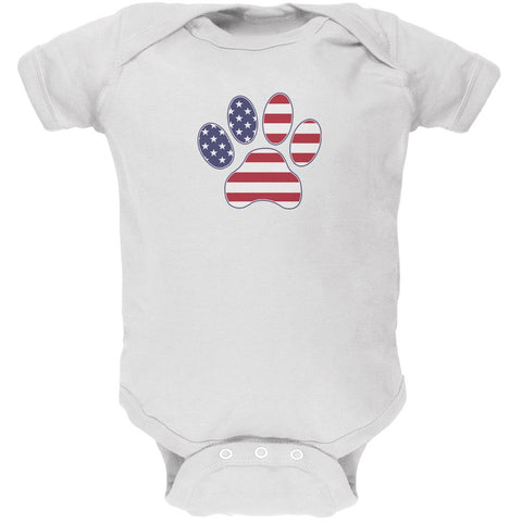 4th of July Patriotic Dog Paw White Soft Baby One Piece