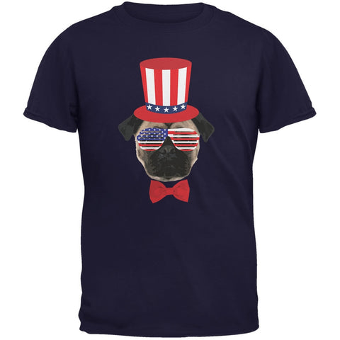 4th of July Funny Pug Navy Adult T-Shirt