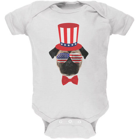 4th of July Funny Pug White Soft Baby One Piece