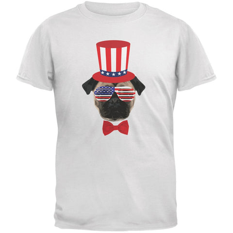 4th of July Funny Pug White Youth T-Shirt
