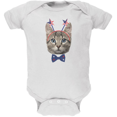 4th of July Funny Cat White Soft Baby One Piece