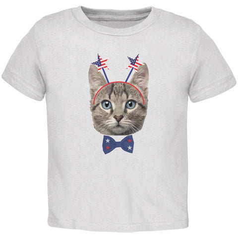 4th of July Funny Cat White Toddler T-Shirt