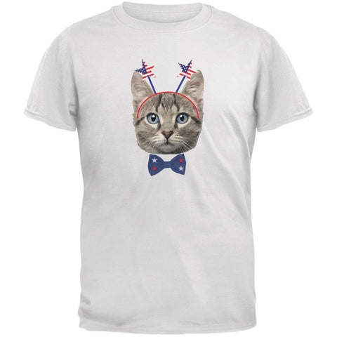 4th of July Funny Cat White Youth T-Shirt