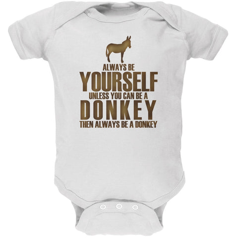 Always Be Yourself Donkey White Soft Baby One Piece
