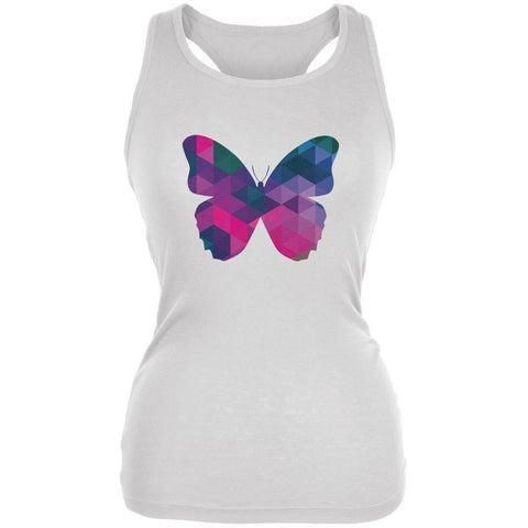 Butterfly Geometric White Juniors Soft Tank Top