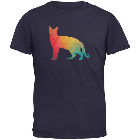 Cat Geometric Navy Adult T-Shirt