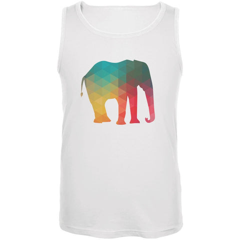 Elephant Geometric White Adult Tank Top