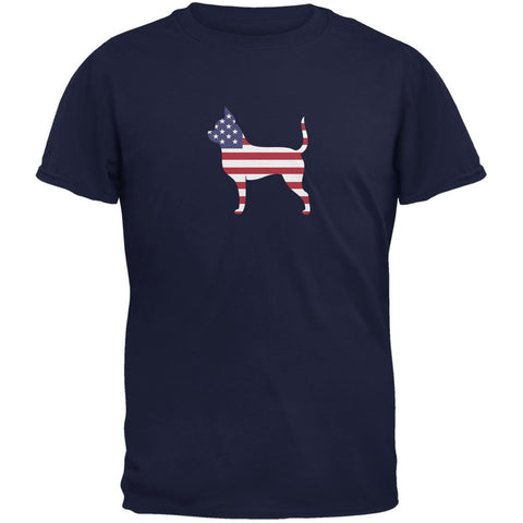 4th of July Patriotic Dog Chihuahua Navy Adult T-Shirt
