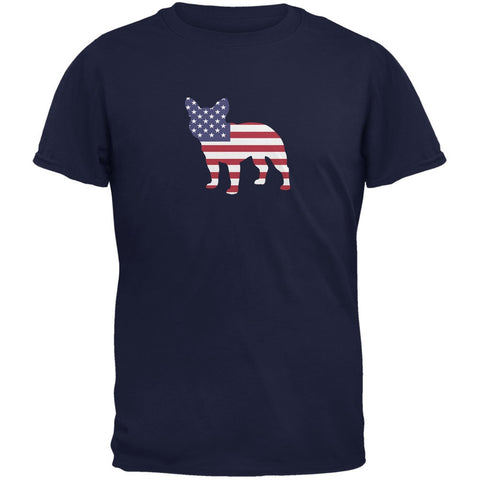 4th of July Patriotic Dog French Bulldog Navy Adult T-Shirt