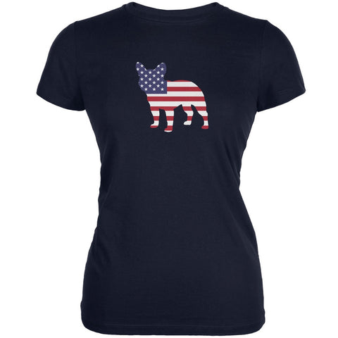 4th of July Patriotic Dog French Bulldog Navy Juniors Soft T-Shirt