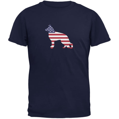 4th of July Patriotic Dog German Shepherd Navy Adult T-Shirt