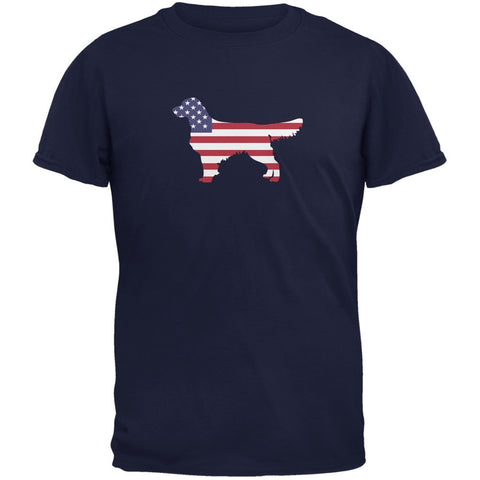4th of July Patriotic Dog Golden Retriever Navy Adult T-Shirt