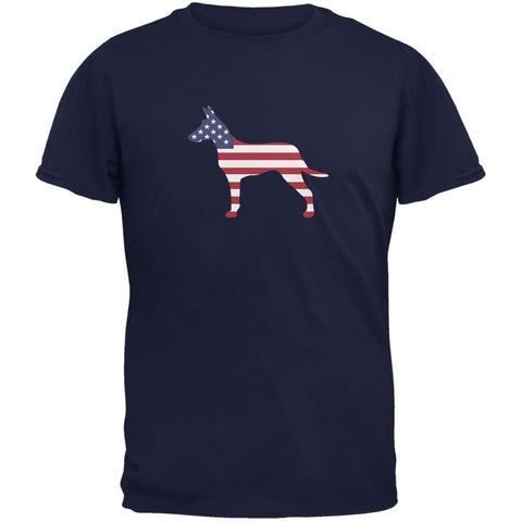 4th of July Patriotic Dog Jack Russel Terrier Navy Adult T-Shirt