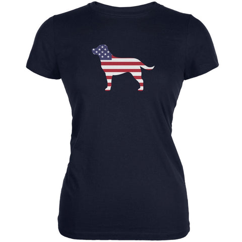 4th of July Patriotic Dog Labrador Retriever Navy Juniors Soft T-Shirt