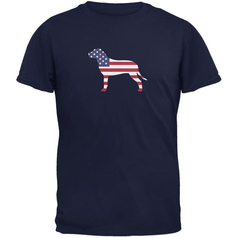 4th of July Patriotic Dog Pit Bull Terrier Navy Adult T-Shirt