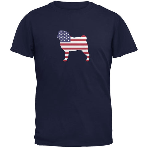 4th of July Patriotic Dog Pug Navy Adult T-Shirt