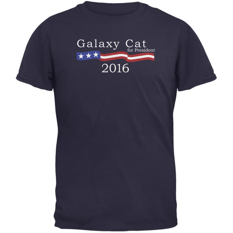 Election 2016 Galaxy Cat President Logo Funny Navy Adult T-Shirt