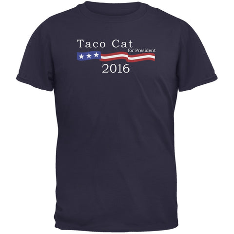 Election 2016 Taco Cat President Logo Funny Navy Adult T-Shirt