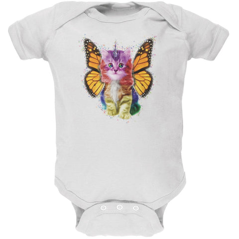 Rainbow Butterfly Unicorn Kitten White Soft Baby One Piece