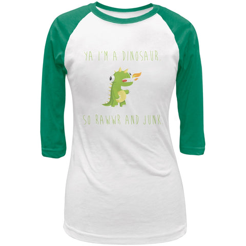 Ya I'm a Dinosaur - Goofy White/Kelly Green Juniors 3/4 Raglan T-Shirt