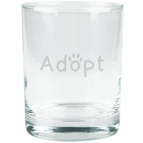 Adopt Cat Dog Paw Etched Glass Tumbler