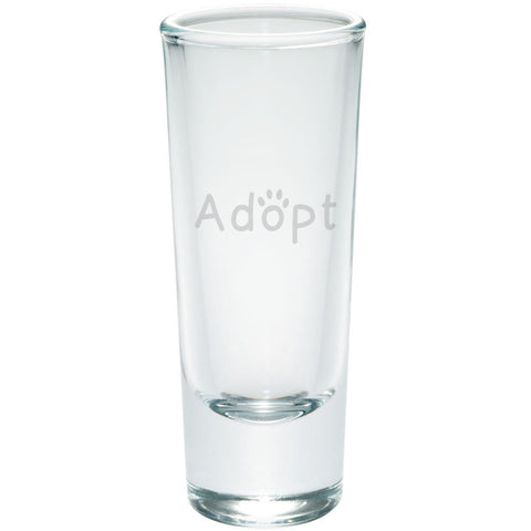 Adopt Cat Dog Paw Etched Shot Glass Shooter