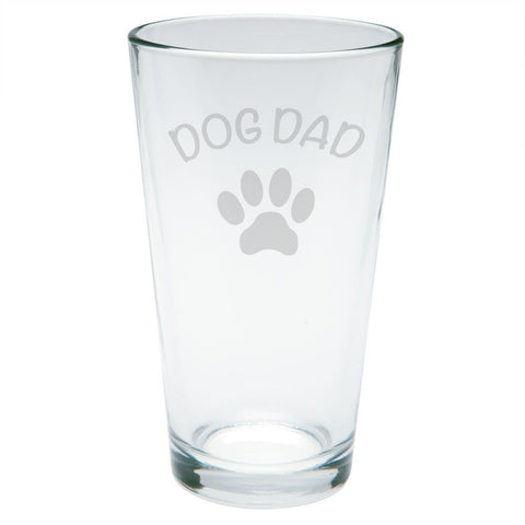 Father's Day Dog Dad Etched Pint Glass