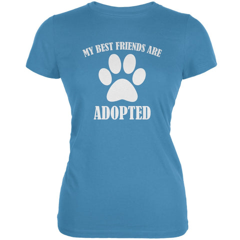My Best Friends Are Adopted Aqua Juniors Soft T-Shirt