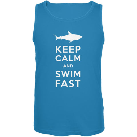 Shark Keep Calm and Swim Fast Turquoise Adult Tank Top