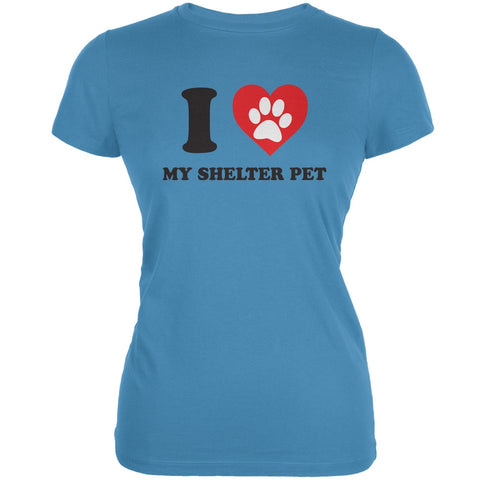 I Heart My Shelter Pet Aqua Juniors Soft T-Shirt