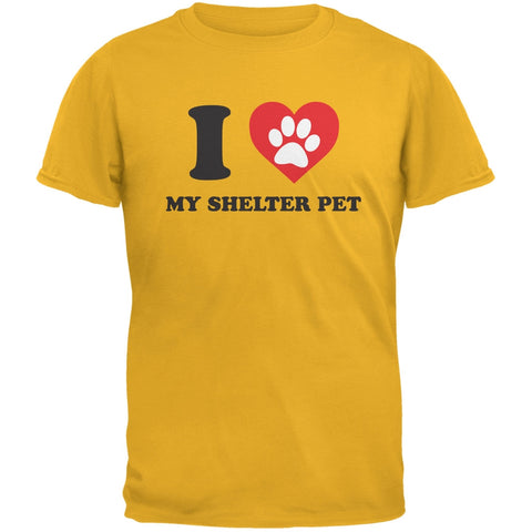 I Heart My Shelter Pet Gold Adult T-Shirt