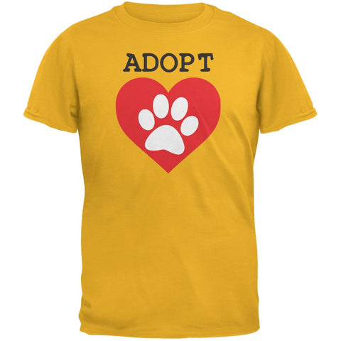 Adopt Heart Paw Gold Adult T-Shirt