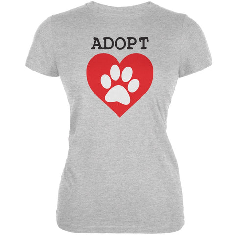 Adopt Heart Paw Aqua Juniors Soft T-Shirt
