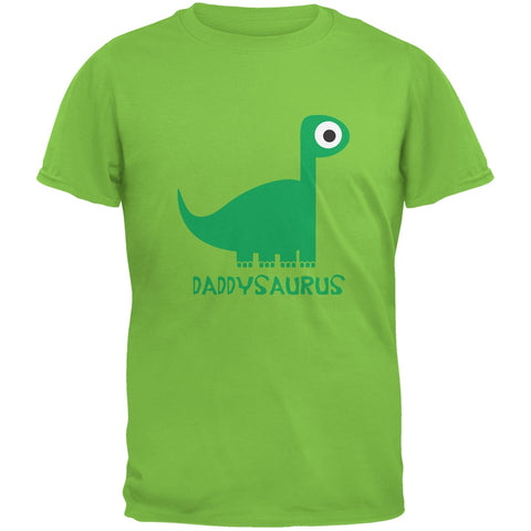 Daddysaurus Father and Child Lime Green Adult T-Shirt