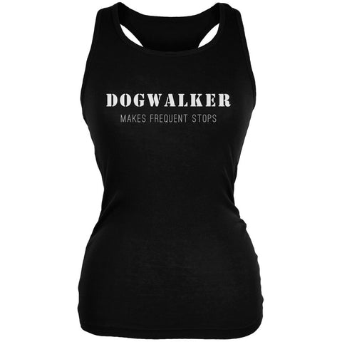 Dog Dogwalker Makes Frequent Stops Black Juniors Soft Tank Top