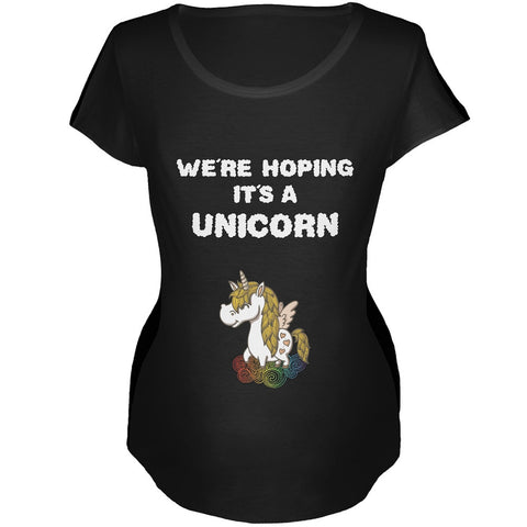 We're Hoping It's a Unicorn Black Maternity Soft T-Shirt