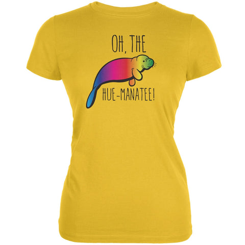 PAWS - Oh The Hue-Manatee Bright Yellow Juniors Soft T-Shirt