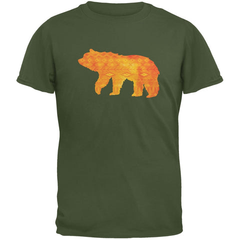 Native American Spirit Bear Military Green Adult T-Shirt