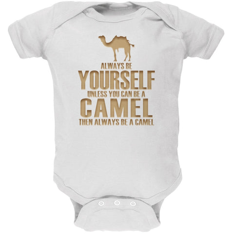 Always Be Yourself Camel White Soft Baby One Piece