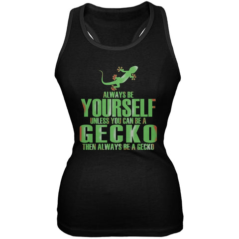 Always Be Yourself Gecko Black Juniors Soft Tank Top