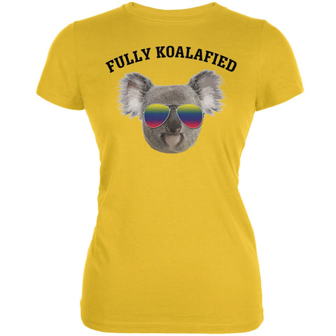 Fully Koalafied Bright Yellow Juniors Soft T-Shirt