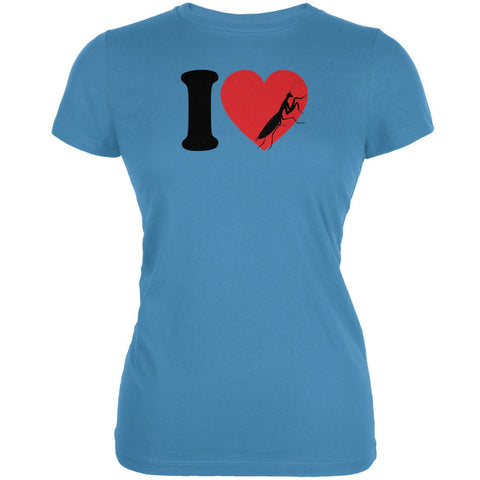 I Heart Love Praying Mantis Aqua Juniors Soft T-Shirt