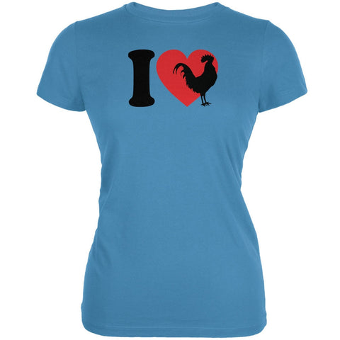 I Heart Love Roosters Aqua Juniors Soft T-Shirt