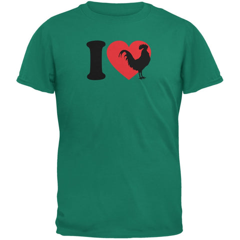 I Heart Love Roosters Jade Green Adult T-Shirt
