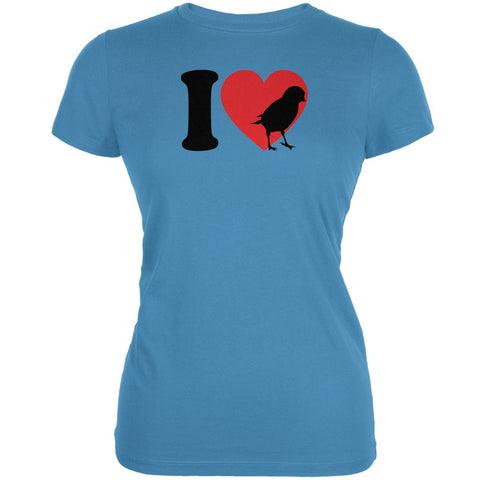 I Heart Love Sparrow Sparrows Aqua Juniors Soft T-Shirt