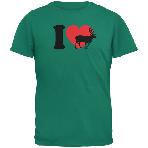 I Heart Love Reindeer Jade Green Adult T-Shirt