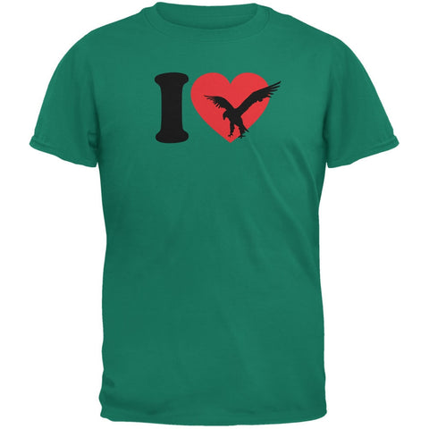 I Heart Love Golden Eagle Eagles Jade Green Adult T-Shirt