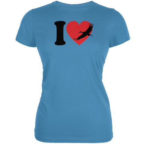 I Heart Love Crane Cranes Aqua Juniors Soft T-Shirt