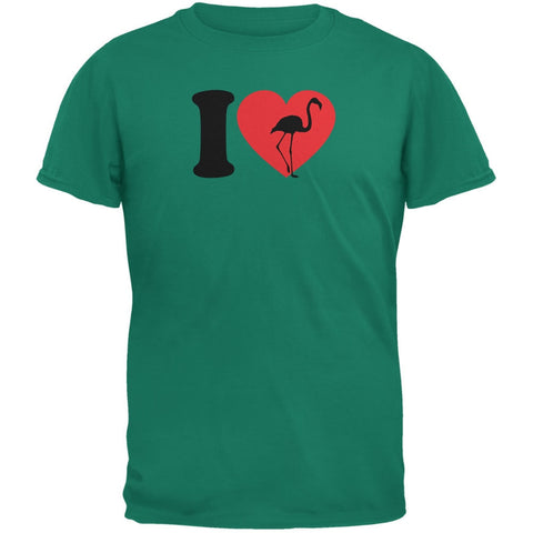 I Heart Love Flamingo Flamingoes Jade Green Adult T-Shirt